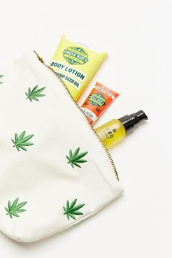 Embroidered Leaf Pattern Pouch - Green at Urban Outfitters