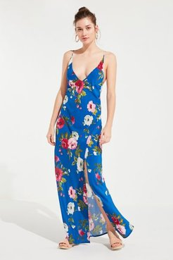 Floral Maxi Dress - Blue M at Urban Outfitters