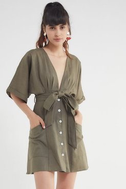 Linen Belted Kimono Dress - Green M at Urban Outfitters