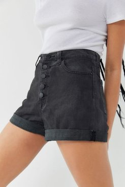 Denim High-Waisted Mom Short - Black - Black 27 at Urban Outfitters