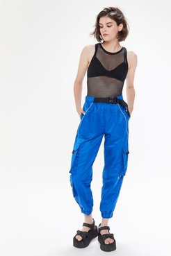 UO Katya Nylon Buckle Cargo Pant - Blue L at Urban Outfitters