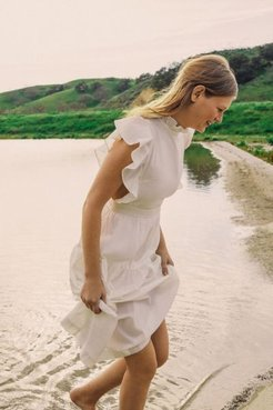 UO Exclusive Chloe Ruffle Apron Midi Dress - White S at Urban Outfitters
