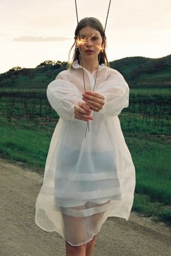 UO Exclusive Amelia Organza Midi Dress - White M at Urban Outfitters