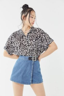 Faith Denim High-Waisted Buckle Skort - Blue 29 at Urban Outfitters