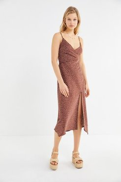UO Kelly Surplice Midi Slip Dress - Brown M at Urban Outfitters
