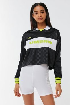 UO Exclusive Checkered Cropped Rugby Jersey - Black M at Urban Outfitters