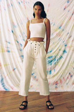 UO Terra High-Waisted Paperbag Pant - White L at Urban Outfitters