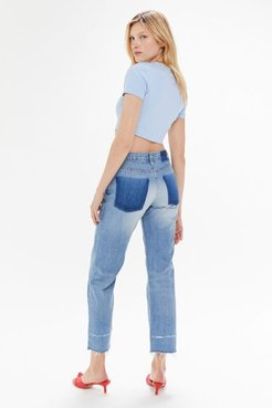Boyfriend High-Waisted Jean - Distressed Light Wash - Blue 32 at Urban Outfitters