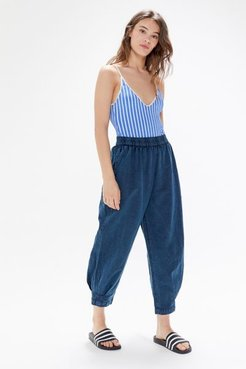 UO Larkin High-Waisted Tapered Pull-On Pant - Blue Xs at Urban Outfitters