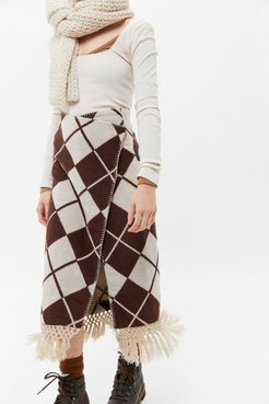 Blanca Fringe Wrap Midi Skirt - Brown 6 at Urban Outfitters
