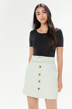 Mid Century Quilted Mini Skirt - Green 6 at Urban Outfitters