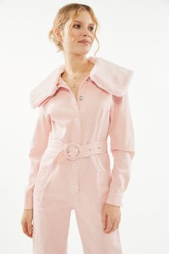 The Johannsen Belted Coverall Jumpsuit - Pink 4 at Urban Outfitters