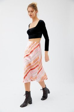 Tommy Plaid Midi Slip Skirt - Assorted 8 at Urban Outfitters