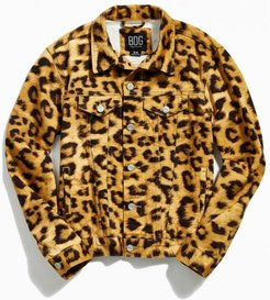 Animal Print Denim Trucker Jacket - Brown Xs at Urban Outfitters