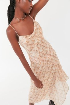 Anaconda Midi Slip Dress - Beige 8 at Urban Outfitters