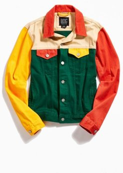 Colorblock Denim Trucker Jacket - Assorted M at Urban Outfitters