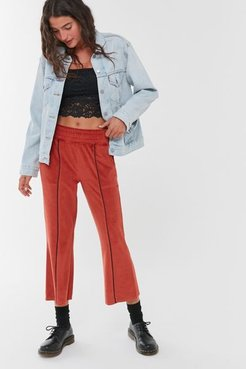Foxy Velour Cropped Kick Flare Pant - Brown S at Urban Outfitters