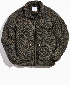 UO Patterned Corduroy Puffer Jacket - Blue L at Urban Outfitters