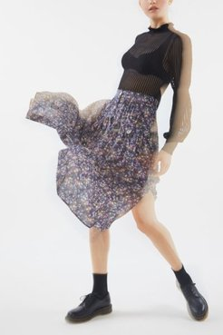 Lola Brooks Button-Front Midi Skirt - Blue 8 at Urban Outfitters