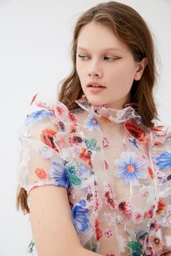Sophie Sheer Floral Blouse - Pink S at Urban Outfitters