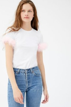 Rosie Faux-Fur Trim Tee - White Xs at Urban Outfitters