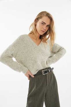 UO Sharde Boxy V-Neck Sweater - Grey Xl at Urban Outfitters