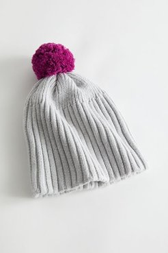 UO Ribbed Knit Big Pom Beanie - Grey at Urban Outfitters