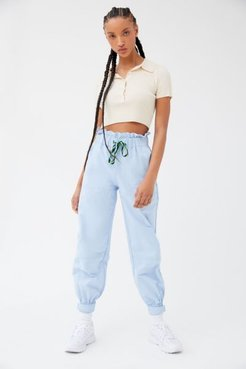 UO Evon High-Waisted Paperbag Jogger Pant - Blue L at Urban Outfitters