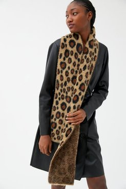 Fuzzy Furry Printed Scarf - Animal at Urban Outfitters