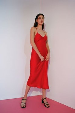 UO Romi Backless Midi Slip Dress - Red M at Urban Outfitters