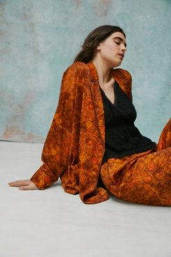 UO Exclusive Reese Oversized Pajama Top - Brown Xs/s at Urban Outfitters