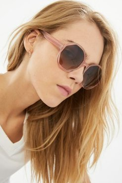 Dion Oversized Round Sunglasses - Beige at Urban Outfitters