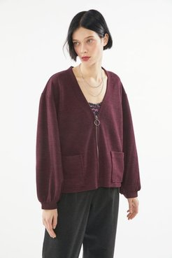 UO Jamie Oversized Zip Cardigan - Red Xl at Urban Outfitters