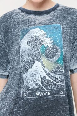Wave Burnout Tee - Black Xl at Urban Outfitters