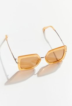 Leona Combination Square Sunglasses - Beige at Urban Outfitters
