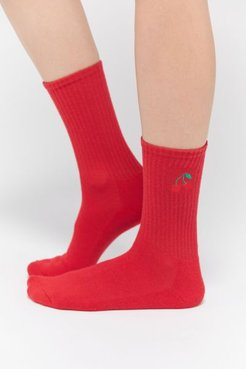 Icon Crew Sock - Red at Urban Outfitters