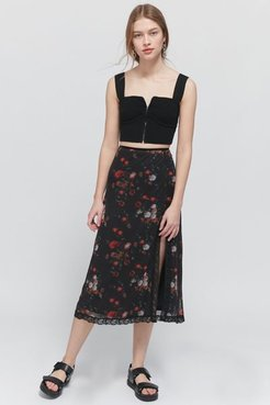 UO Floral Mesh Side-Slit Midi Skirt - Black L at Urban Outfitters