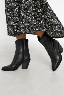 UO Paneled Leather Western Boot - Black 8 at Urban Outfitters
