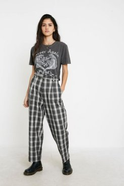 UO Plaid Belted Cocoon Pant - Black Xxs at Urban Outfitters