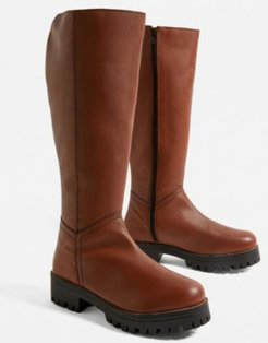 UO Devon Leather Knee-High Boot - Brown 6 at Urban Outfitters