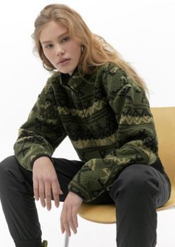 UO Geo Pattern Teddy Track Top - Green Xs at Urban Outfitters