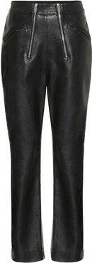 High-rise faux leather pants
