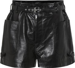 Xike high-rise leather shorts