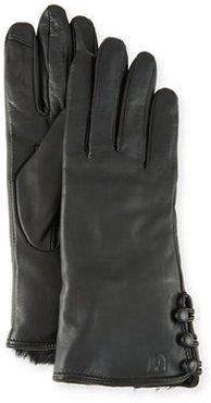 Leather Tech Gloves w/ Faux-Fur Lining