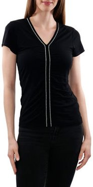 Knit Top With Ruched Front And Chain
