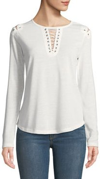 Lace-Up Detail Scoop-Neck Tee