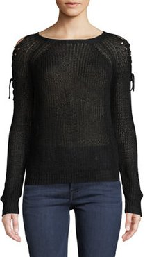 Lace-Up-Shoulder Pullover Sweater