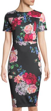 Short-Sleeve Scuba-Crepe Sheath Dress