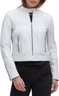 Lambskin Leather Colorblock Racer Jacket