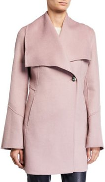 Draped-Front One-Button Wool Pea Coat
